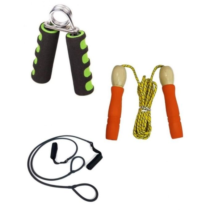 Pack of 3 - Hand Grip with Skipping Rope & Body Shaper Band - Multicolor