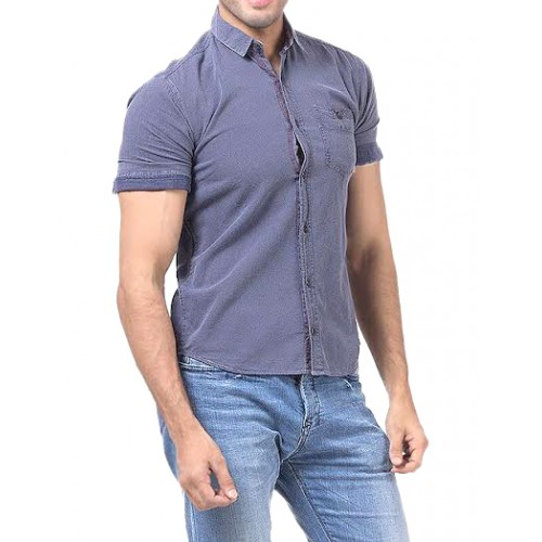 Dim Blue Cotton Casual Shirt Single Pocket