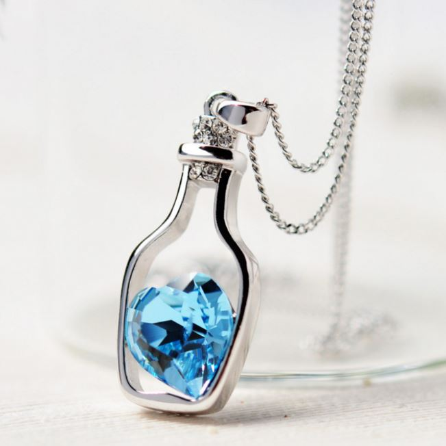 Love BottleBlue Heart Crystal Pendant