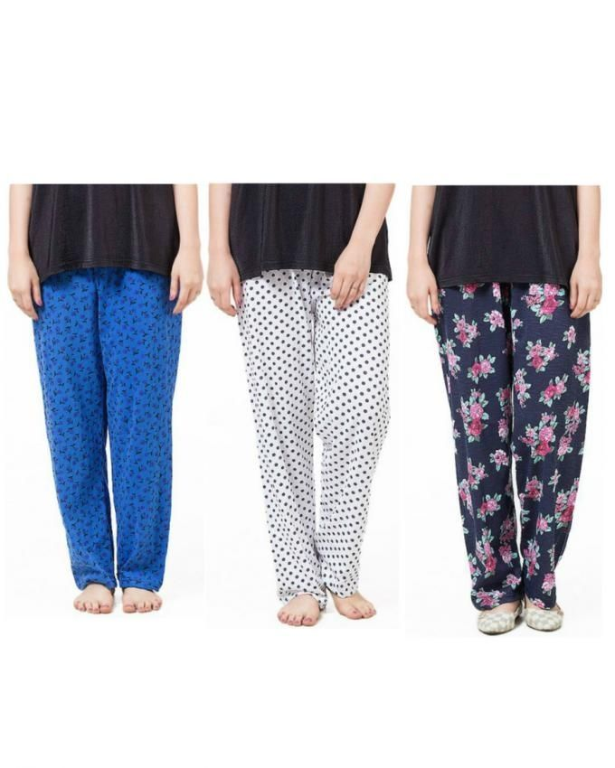 Choctage-Pack-of-3---Multicolor-Jersey-Pajama-For-Women-7934.html
