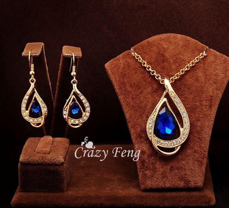 18k Gold Filled Blue Ruby Necklace & Earrings