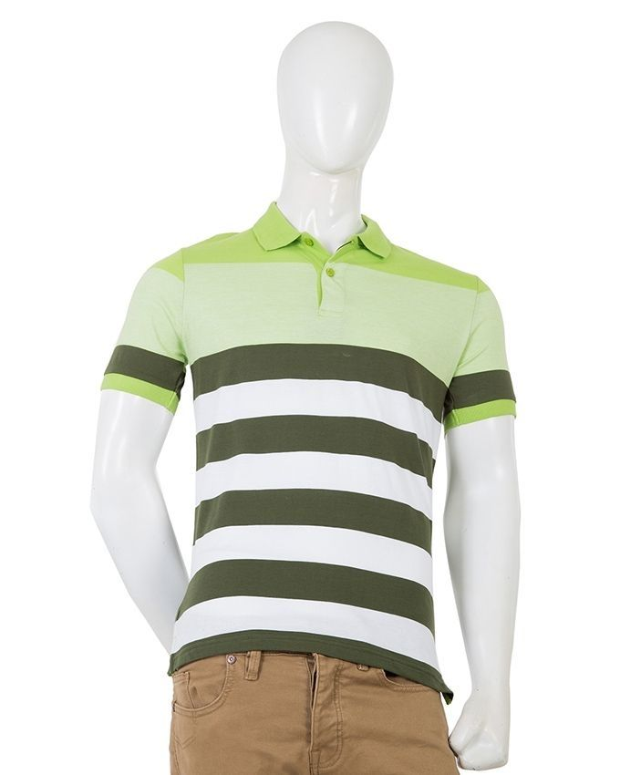 Grey & Green Cotton Yarn Dyed Polo T-Shirt for Men
