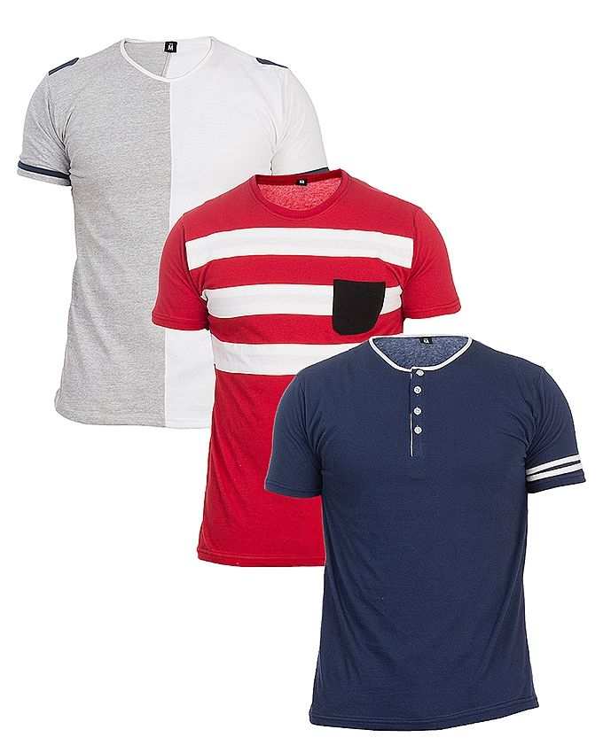 Pack of 3 - Multicolored Cotton T-Shirts for Men
