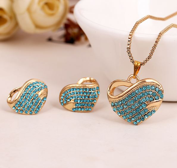 Austrian Crystal Gold Plated Heart Necklace & Earrings