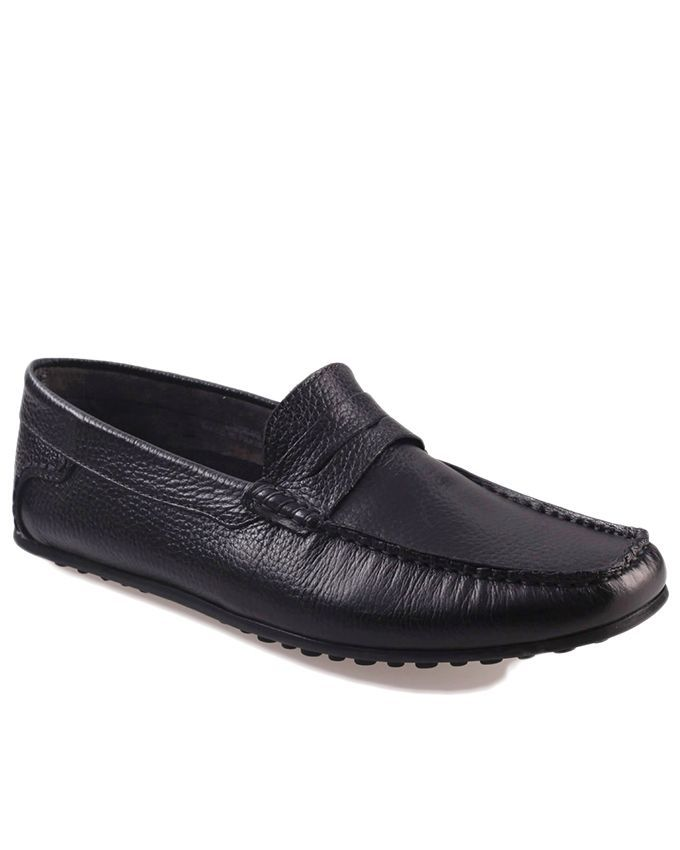 Black Leather Fregmo Mild Mocassins For Men