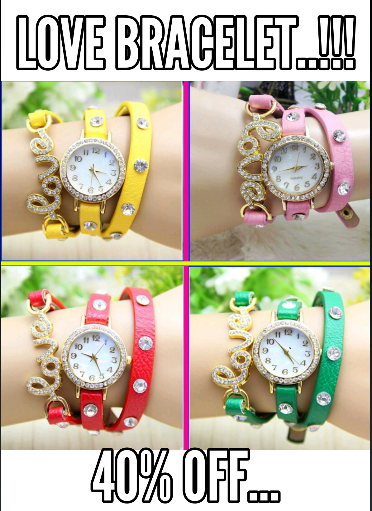 Pack of 4 Love Bracelet Watches For Her