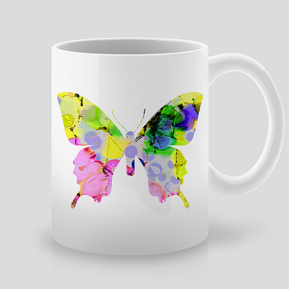 Printed White Butterfly Mug