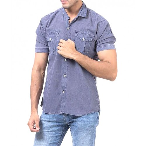 Dim Blue Cotton Casual Shirt Double Pocket