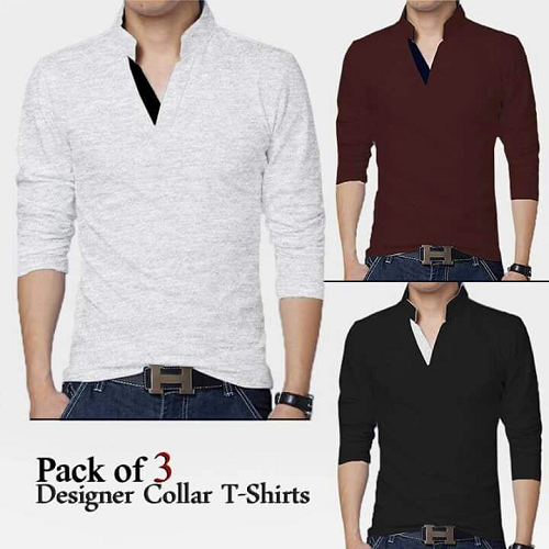 Designer Collar T-Shirts Pack Of Three