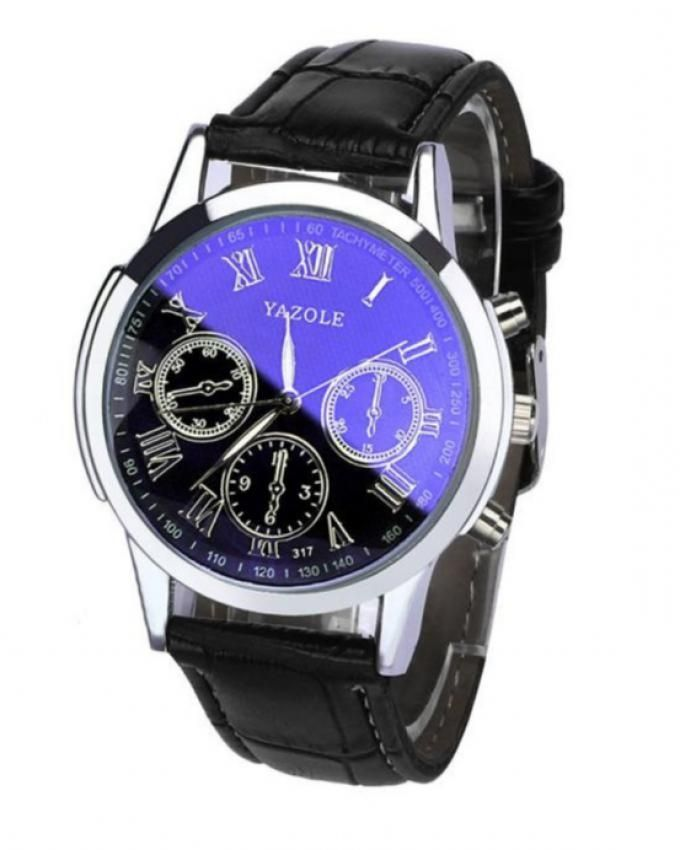 Yazole Blue Leather Analog Watch For Men