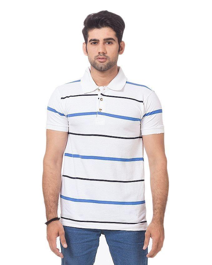 Contessa White Cotton Striped Polo Shirt For Men