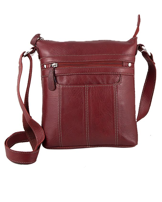 Sienna De Luca Red Leather Cross Body Bag For Women One Size