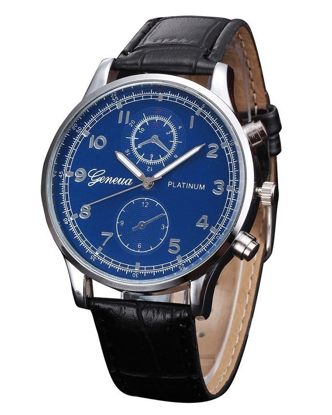 Solo Black & Blue Leather Luxury Watch for Men