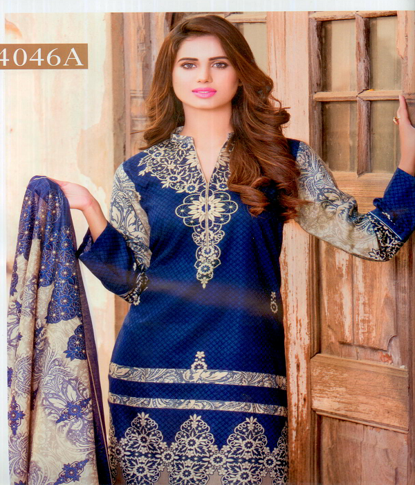 Star Collection summer Lawn Three Piece suit vol 4- 4046A