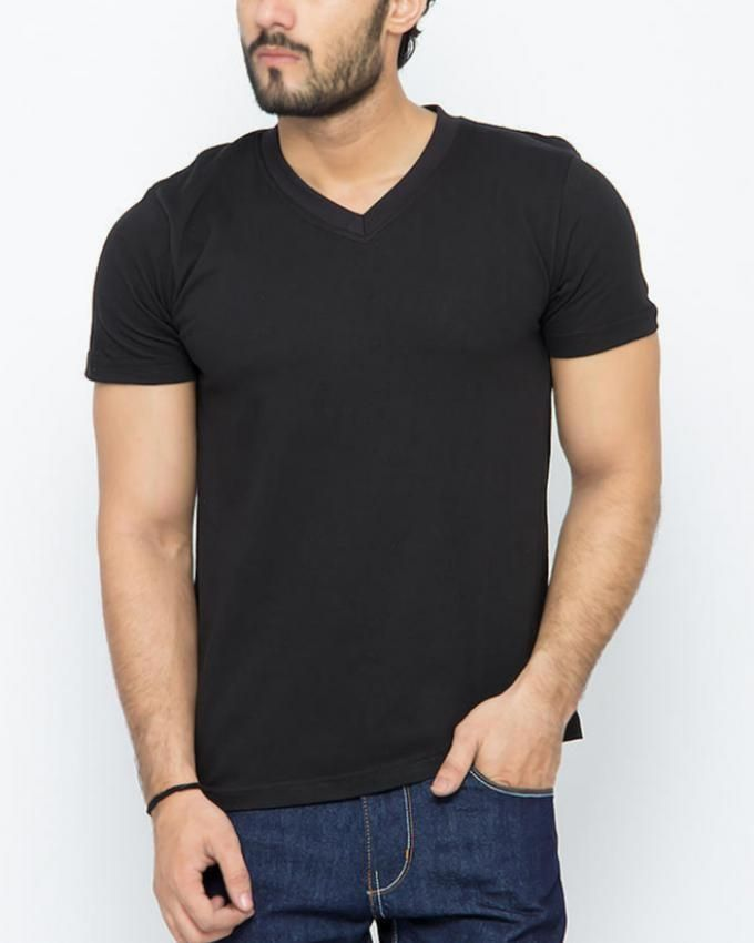 Black - Cotton - V - Neck Shirt For Men