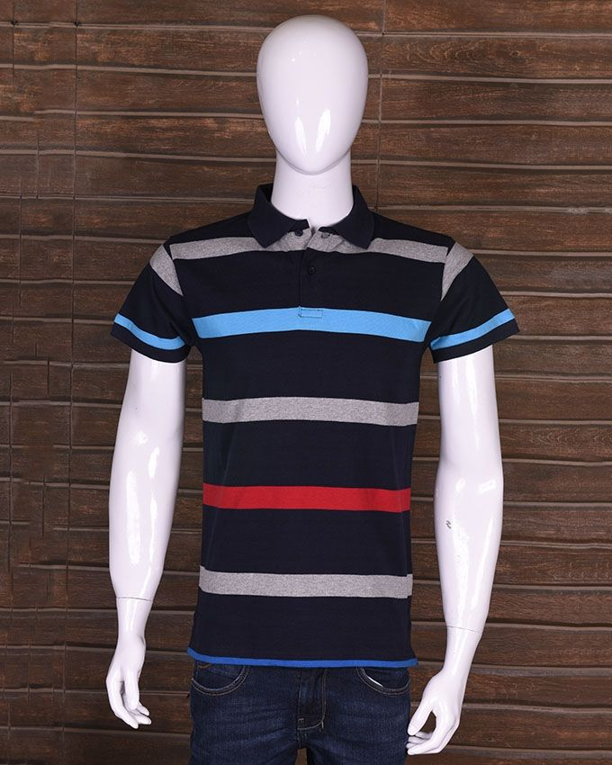 Chen One Multi Color Cotton Striped Polo Shirt for