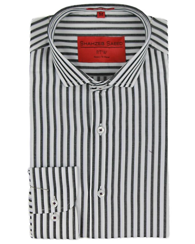 Shahzeb Saeed White & Black Cotton Striped Shirt F