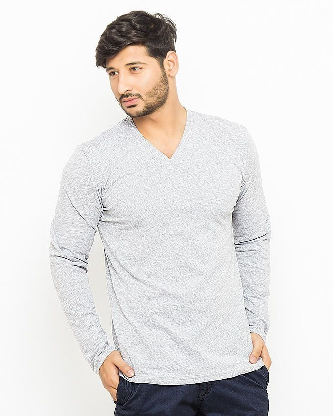 Mardaz Heather Grey Cotton T-Shirt For Men
