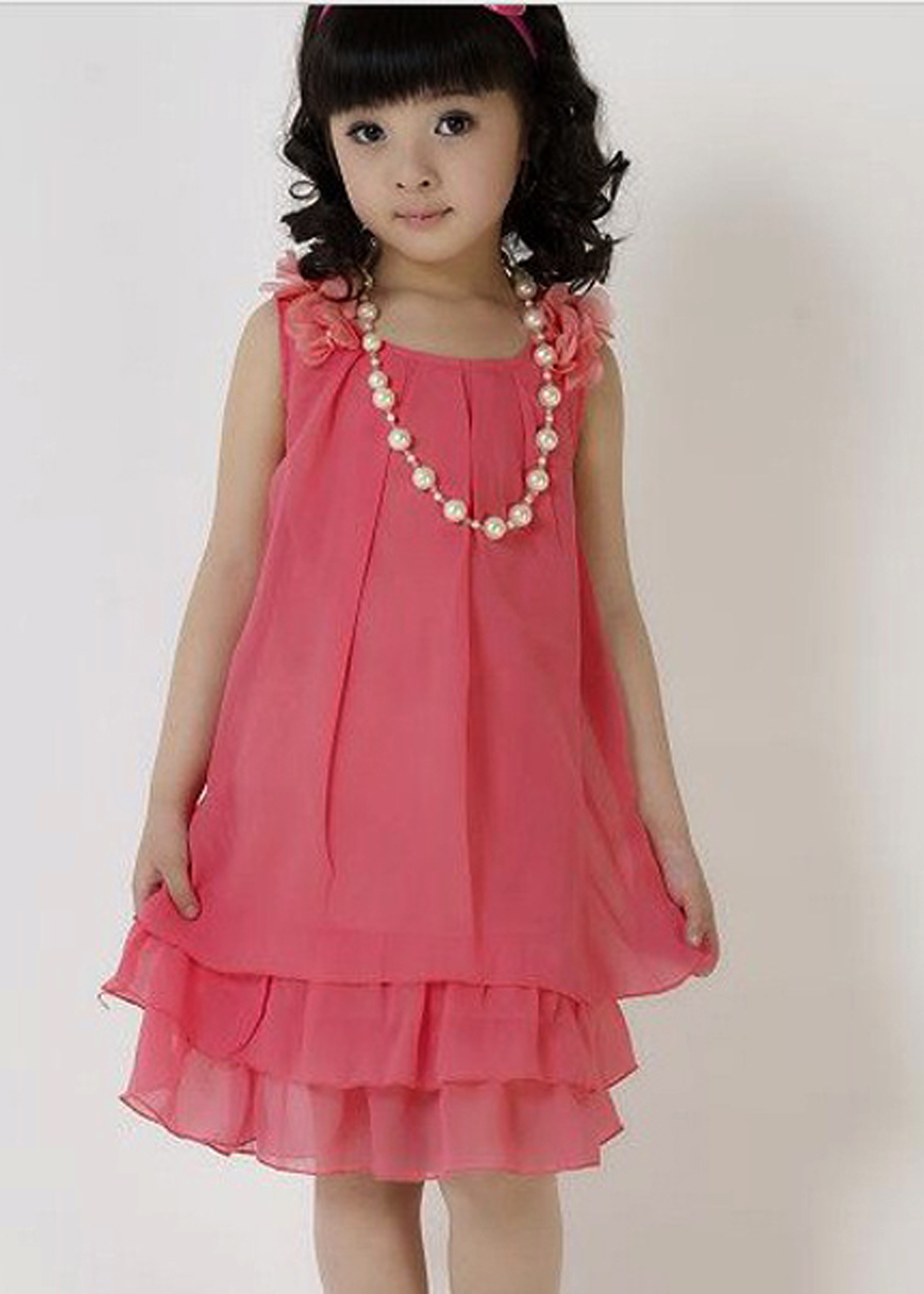 Girls Chiffon Dress With Necklace