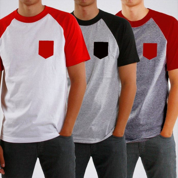 Men's Pack Of 3 Raglan T-Shirt. RAJ-P3