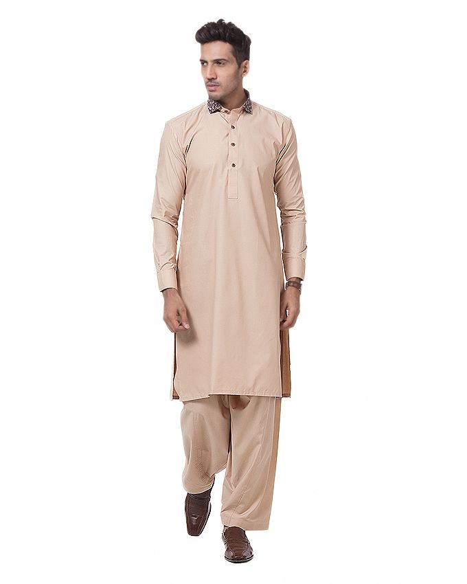 Light Brown Cotton Taj Shalwar Kameez SK-17 Regula