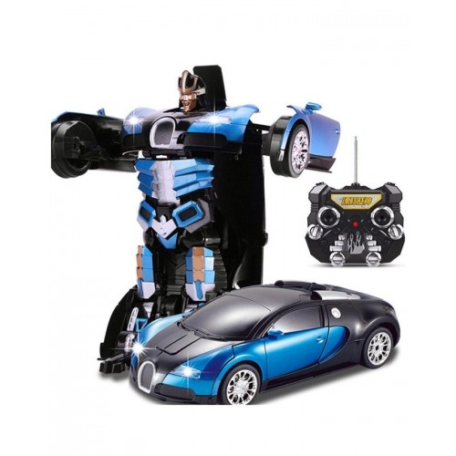 Toy Galaxy Remote Control Transformer Bugatti Car Robot - Blue