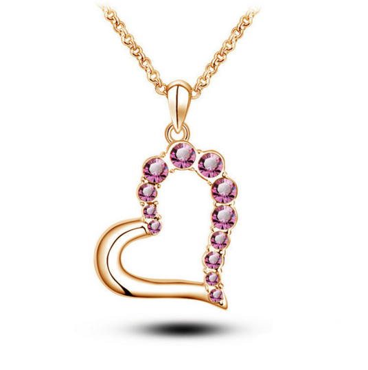 18 K Rose Gold Plated Heart Shape Austrian Crystal