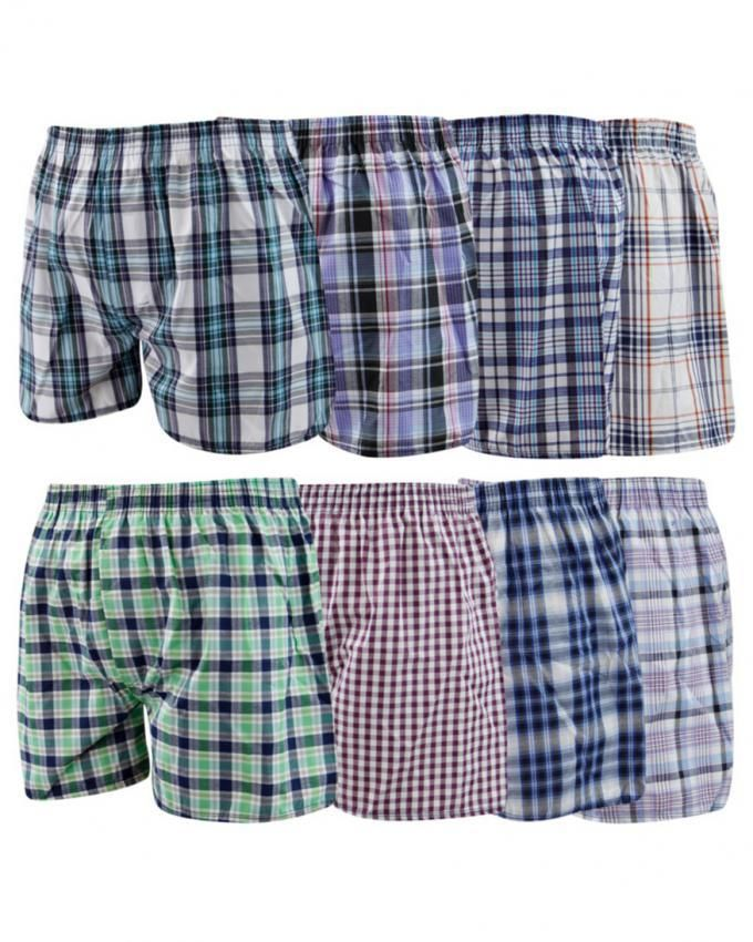 Multicolor Cotton Easy Wear Checkered Shorts - Pack Of 8