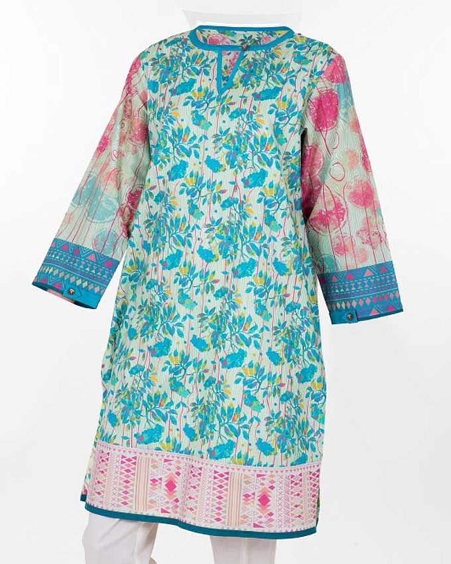 Tarzz Multicolour Lawn Digital Printed Kurti for Women