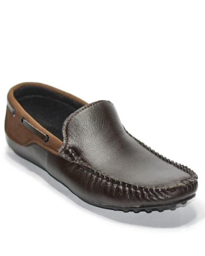 Oasis Chocolate Brown Leather Mocassins For Men
