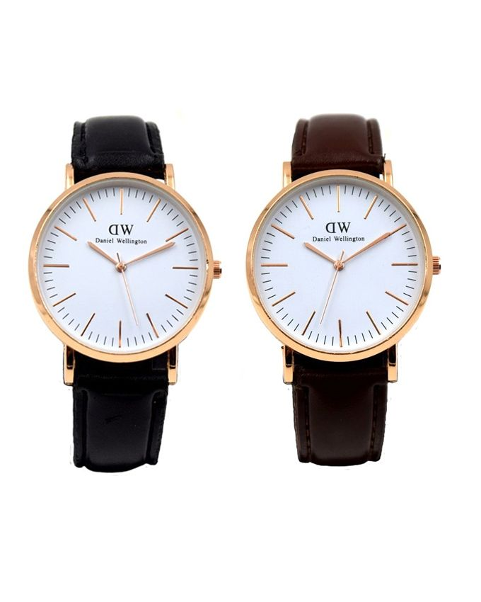 Pack of 2 - Leather Watch For Men - Black & Brown