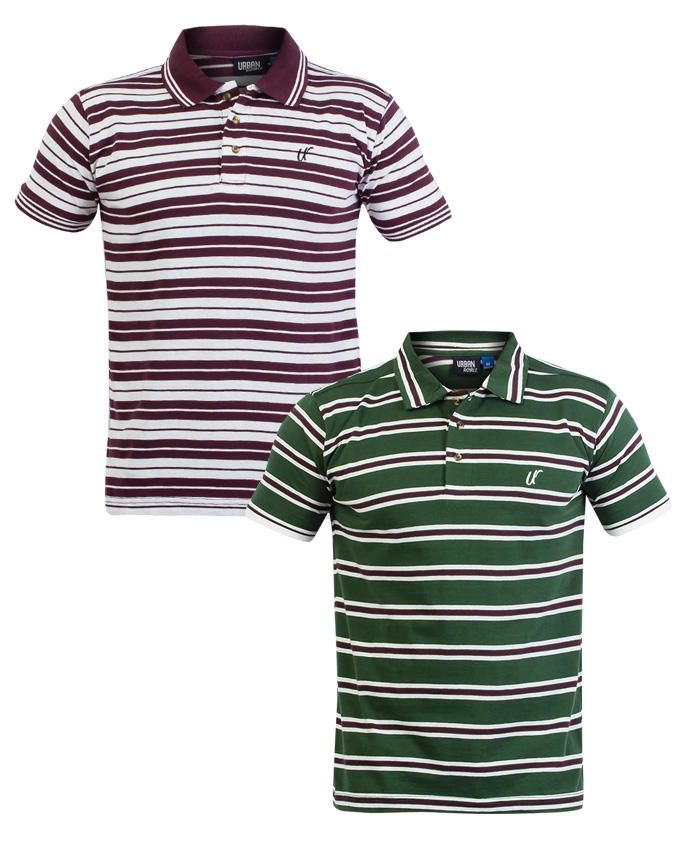 Urban Royale Green & Maroon Two Stylish Stripe T-S