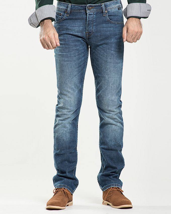 Stoneage Medium Blue Denim Arkansas Jeans For Men