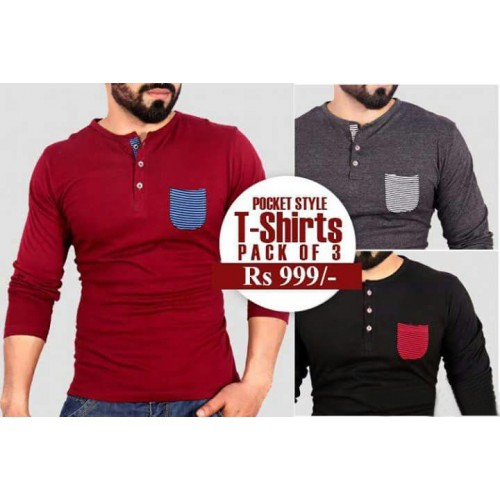 Pocket Style T-Shirts Pack Of Three