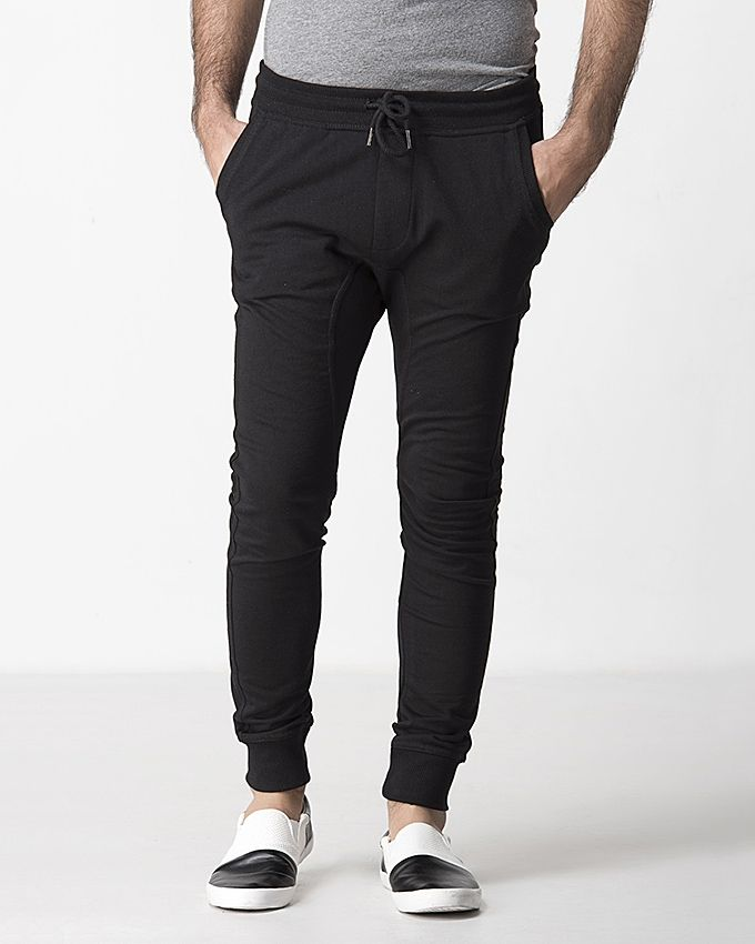 Outfitters Black Cotton Dark Toned Plain Trouser for Men