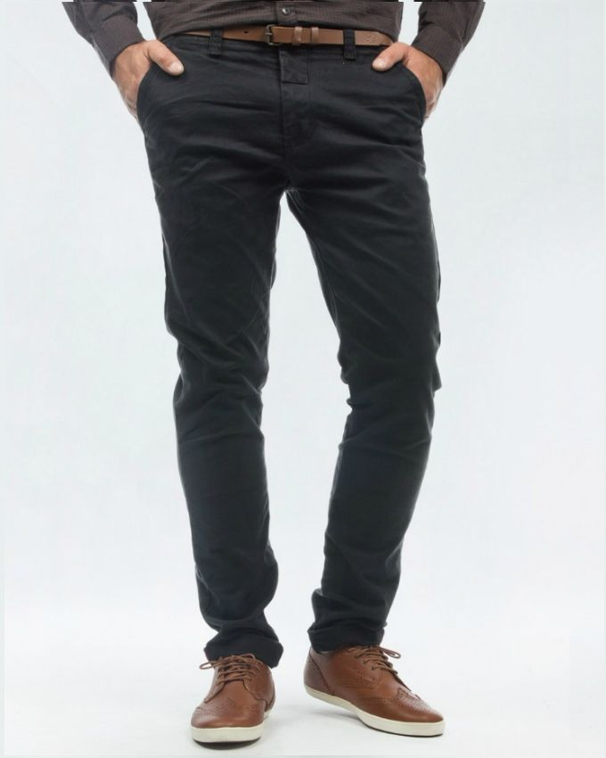 Black Cotton Chino Pant for Men
