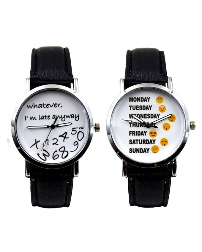 Kaytlin's Pack of 2 - Black Leather Watch With Pri