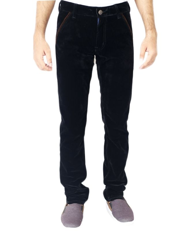 Aunly Black Velvet Casual Pants For Men