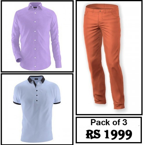 Pack of 3 Different Colours Shirt, T-Shirt & Jeans