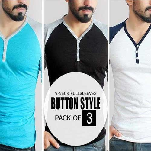 Pack of 3 V-Neck Button down T-Shirts