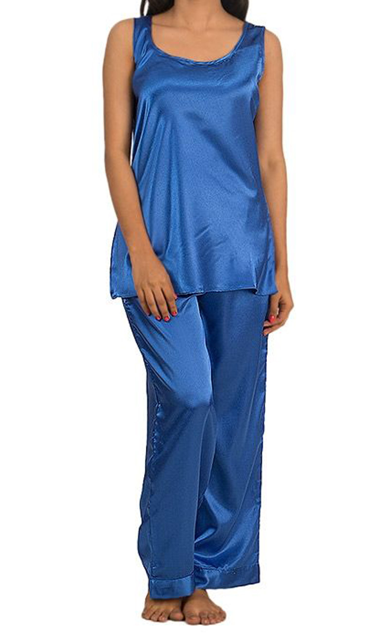 Valerie Royal Blue Satin Sando Set For Women - San-Rb