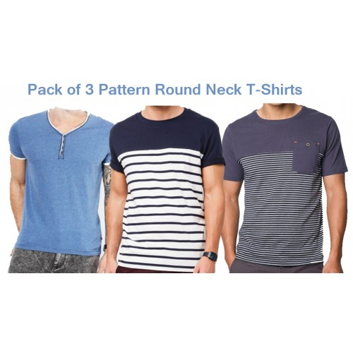Pack of 3 Pattern Round Neck Summer T-Shirts