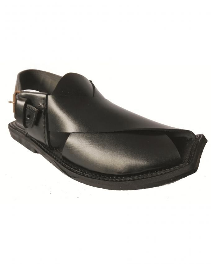 Black Leather Peshawari Chappal For Men