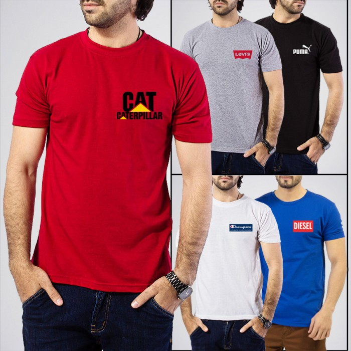 Men's Pack Of 5 Branded Graphic Printed T-Shirts. AJ-P5