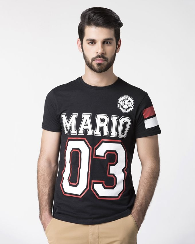 Black-Cotton-Mario-Printed-Dark-Colored-T-Shirt-for-Men-1303.html