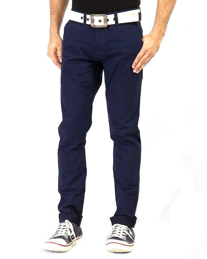 Reborn Navy Blue Cotton Chino Pants