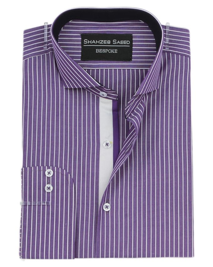 Shahzeb Saeed Purple Cotton Regular-Fit Caramel Sh