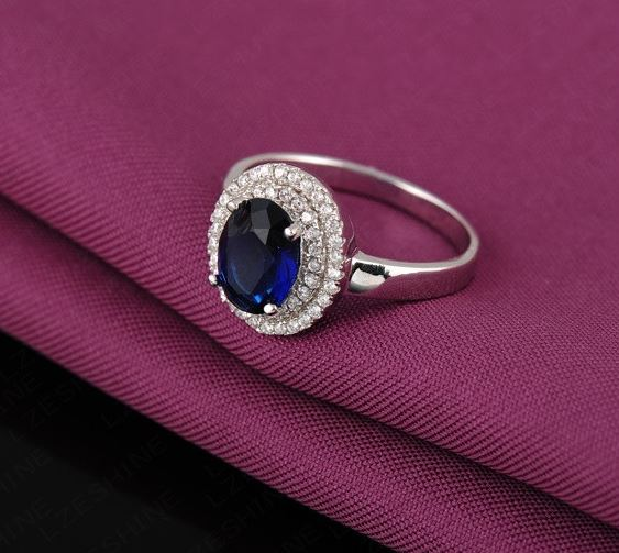 Swiss Cubic Zircon Blue Ring
