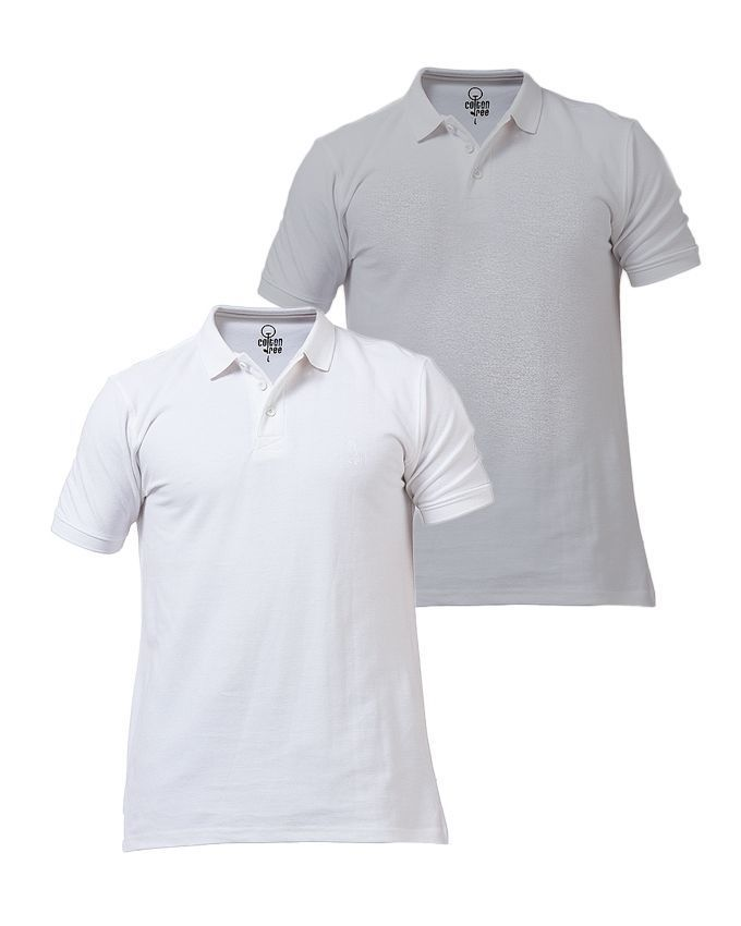 Pack of 2 - Grey & White Cotton Polo T-Shirts For