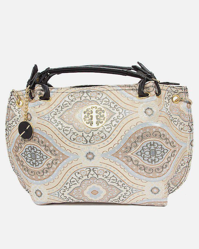 Anum Khan Ash White Jacquard Boat Handbag